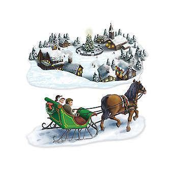 "Holiday Village & Sleigh Ride Props 4' 7"" & 4' 10"""