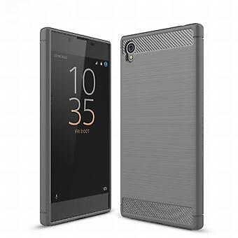 Sony Xperia E6 TPU case carbon fiber optics brushed protection cover grey