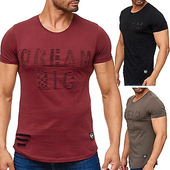 Men's T shirt ripped short sleeve shirt destroyed biker used look new