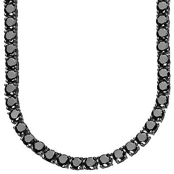 Sterling 925 Silver Black CZ ICED OUT chain, 5mm - 90cm