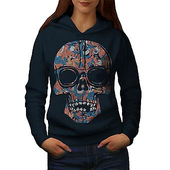 Cool morts Hipster Skull femmes NavyHoodie | Wellcoda