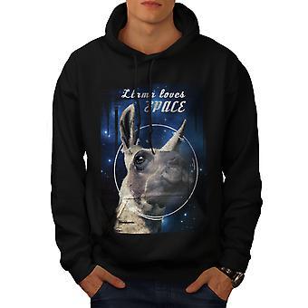 Animal Llama Alien Men BlackHoodie | Wellcoda