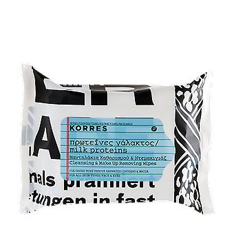 Korres Milk Proteins Cleansing Make Up Removing Wipes x25