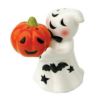 Halloween Ghost and Jack O Lantern Magnetic Ceramic Salt and Pepper Shaker Set