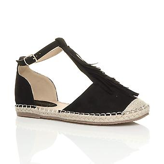 Ajvani womens flat buckle t-bar fringe tassel espadrilles sandals shoes
