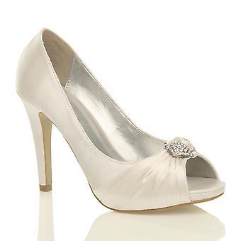 Ajvani kvinnors hög klack diamante rynkad bridal wedding prom kväll peep toe domstolen skor pumpar