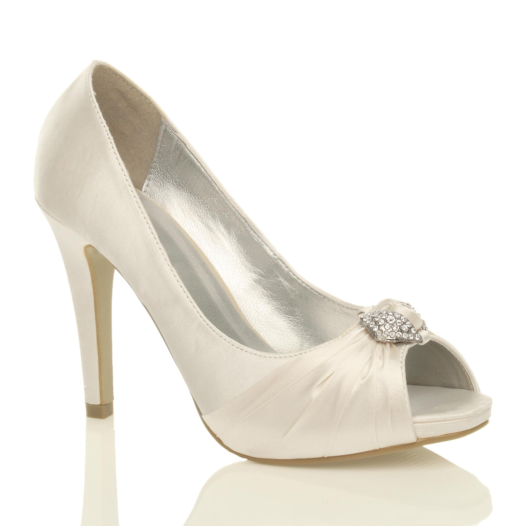 Ajvani womens high heel diamante ruched bridal toe wedding prom evening peep toe bridal court shoes pumps:King of the Kings:Man's/Woman's d941a2
