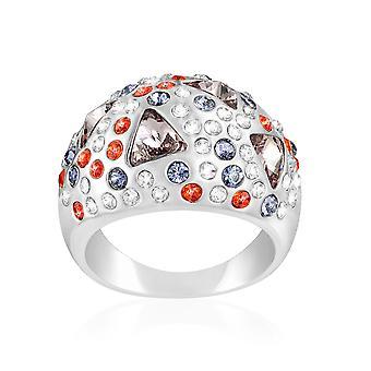 Kristall Swarovski Elementen Multicolor und Rhodium - T52 Platte ring