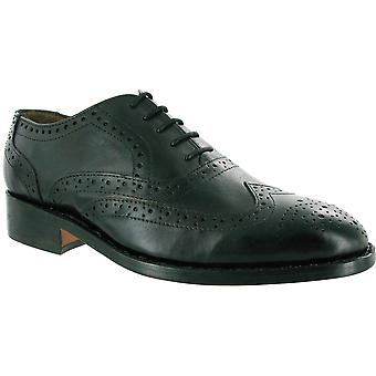 Amblers Mens Ben Lace Lined Leather Brogue Style Shoe Black