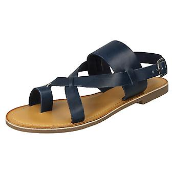 Ladies Leather Collection Toeloop Sandals F00127 - Navy Leather - UK Size 5 - EU Size 38 - US Size 7