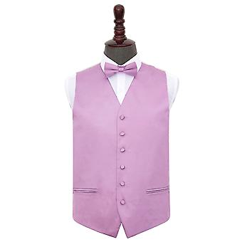Lilac Plain Satin Wedding Waistcoat & Bow Tie Set
