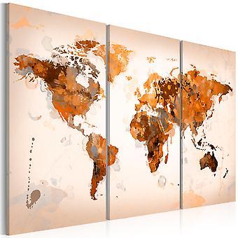 Lærred Udskriv - kort af verden - Desert storm - treenighed