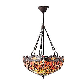 Interiors 1900 Flame Dragonfly Large Inverted 3 Light Ceiling Pendant