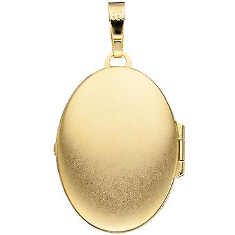 Medallion oval pendant 333 gold yellow gold partially frosted with ornaments of Gold Medallion