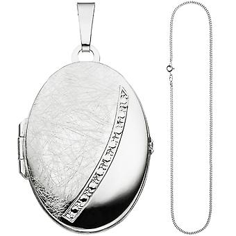 Oval Locket pendant to open for 2 photos 925 Silver Chain 60 cm