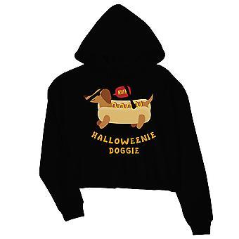 Halloweenie Doggie Womens Black Crop Hoodie