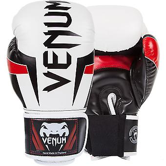Venum Elite Hook and Loop Training Boxing Gloves - White/Black/Red