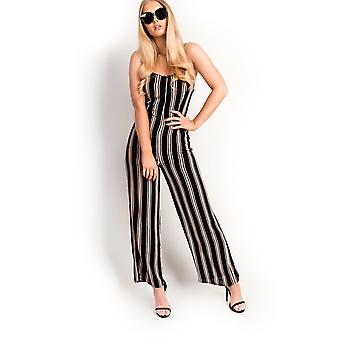 IKRUSH Womens Mila Striped Wide Legged Loose Jumpsuit
