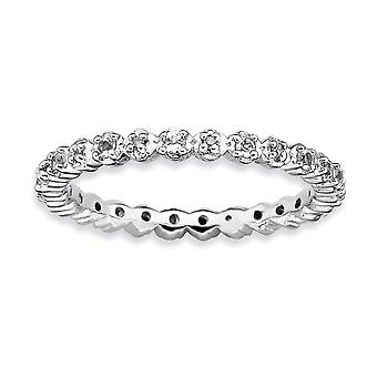 Sterling Silver Polished Prong set Rhodium-plated Stackable Expressions White Topaz and Diamond Ring - Ring Size: 5 to 1