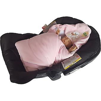 BlueberryShop Signature for CARSEAT (3 point harness) Hooded Velour Swaddle Wrap Blanket Sleeping Bag, baby shower GIFT