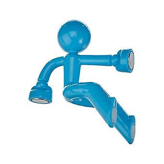 Climbing old man fridge magnet-Blue