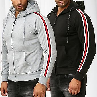 Men's Zip Hoodie Striped Sweat Shirt Jacket Tracksuit Pullover Jumper Longsleeve