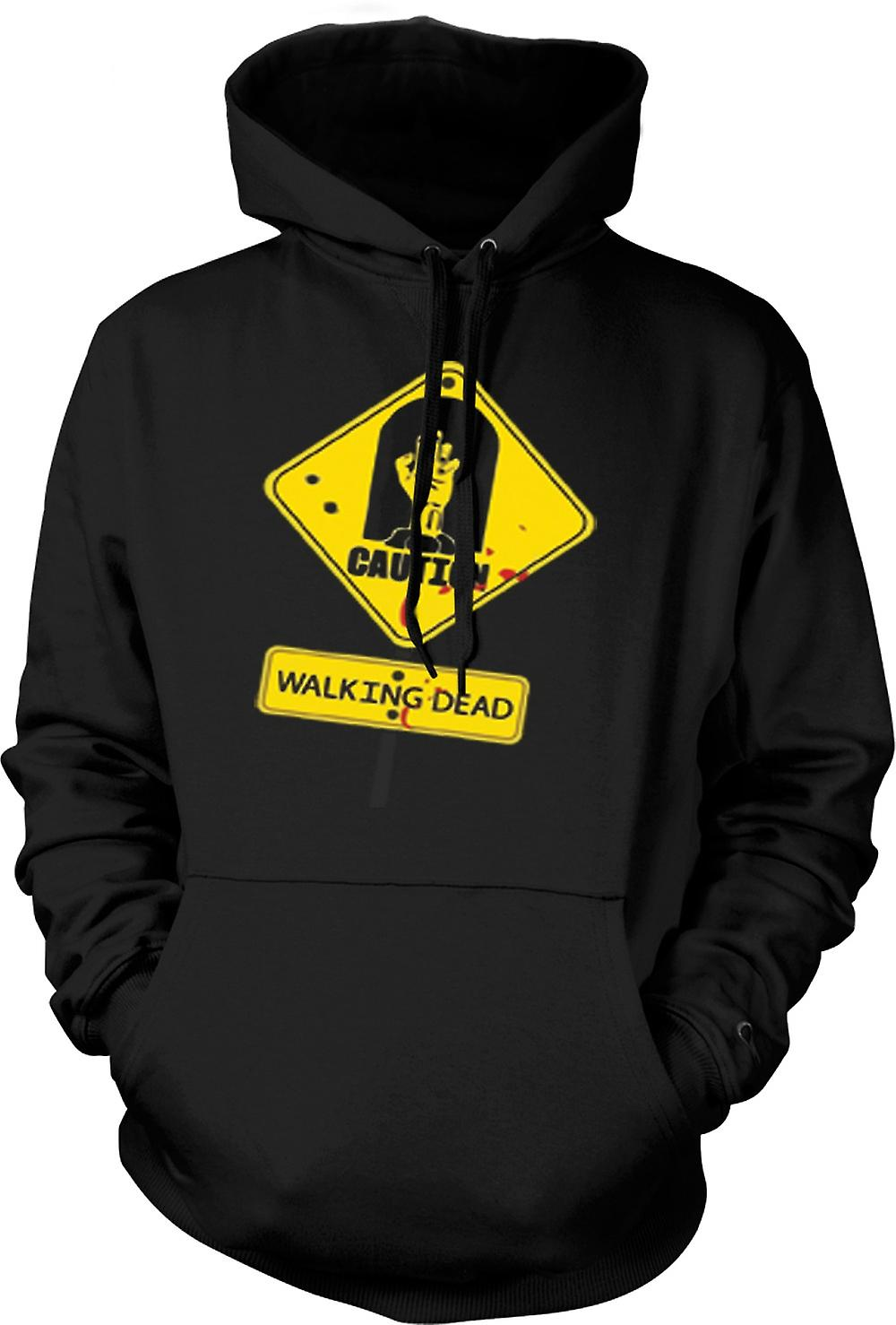 Mens Hoodie - Caution - Walking Dead Zombie Warning Sign