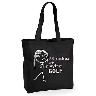 Ladies I'd Rather Be Playing Golf Black Cotton Shopping Bag