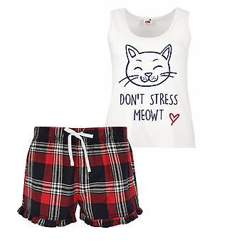 Don't Stress Meowt Cat Ladies Tartan Frill Short Pyjama Set Red Blue or Green Blue