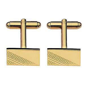 Hard Gold Plated 11x17mm oblong engine turned Cufflinks
