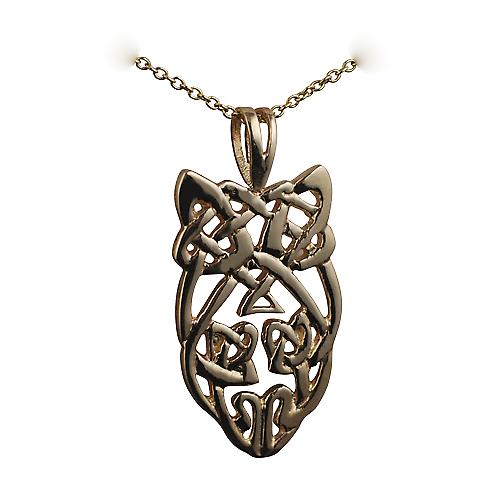 9ct Gold 27x15mm Celtic knot design Pendant with a cable link chain