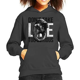 Elephant Dont Take Life Too Serious Kid's Hooded Sweatshirt
