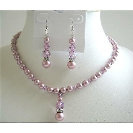 Lavender Crystals Jewelry Set Rose Pink Pearls Swarovski Necklace Set