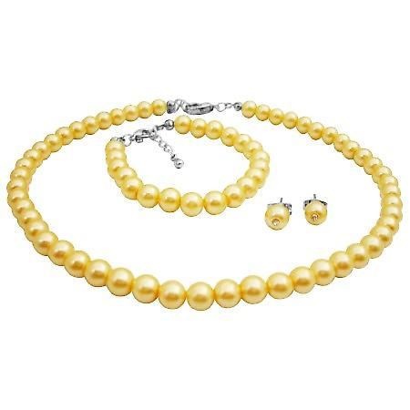 Elegant Wedding Accessories Flower Girl Jewelry In Yellow Pearls