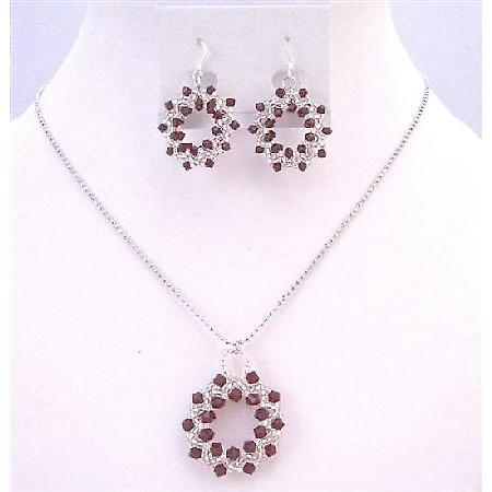 Japanese Glass Bead Swarovski Siam Red Crystals Round Pendant Necklace