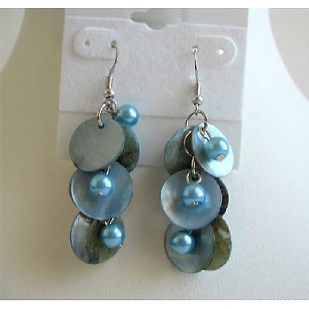 Mop Shell Danling Blue Shell Earrings w/ Simulated Pearls Earrings