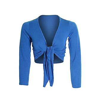 Ladies Long Sleeve Tie Up Colour Bolero Shrug Women's Cardigan Wrap Top