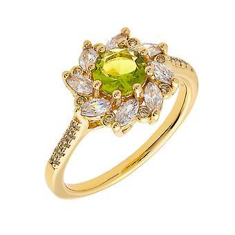 Bertha Juliet Collection Women's 18k YG Plated Light Green Flower Fashion Ring Size 5