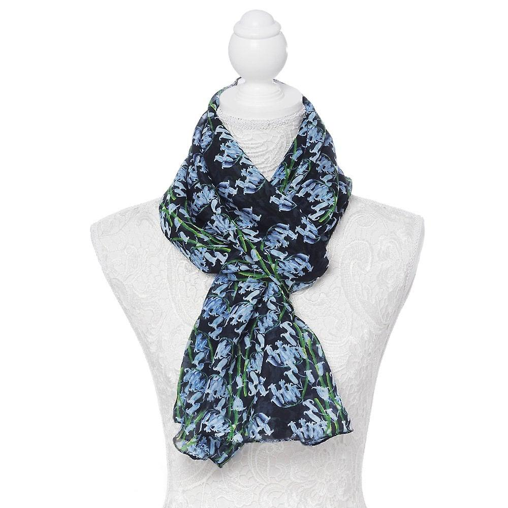 Eternal Collection Bonnie Bluebell Blue And Black Multi Coloured Pure Silk Scarf