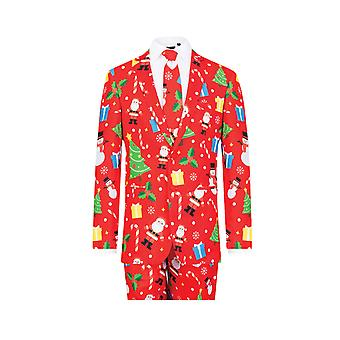 d/Spoke Mens Red Festive Fun 2 Piece Christmas Suit