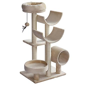 PawHut Multi-Level Large Cat Tree Scratching Post Perch Kitty Activity Center Tunnel Hanging Ball Beige