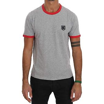 Gray Red Cotton Crewneck T-Shirt -- TSH1368816