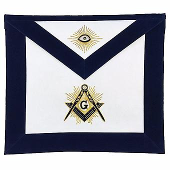 Masonic MASTER MASON Hand Embroided Apron with square compass with G Navy