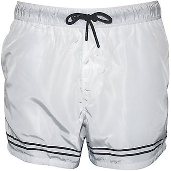 Oiler & Boiler West Hampton Twin Stripe Swim Shorts, White/black