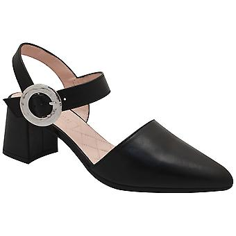 Hispanitas Black Leather Close Toe Block Heelsandal
