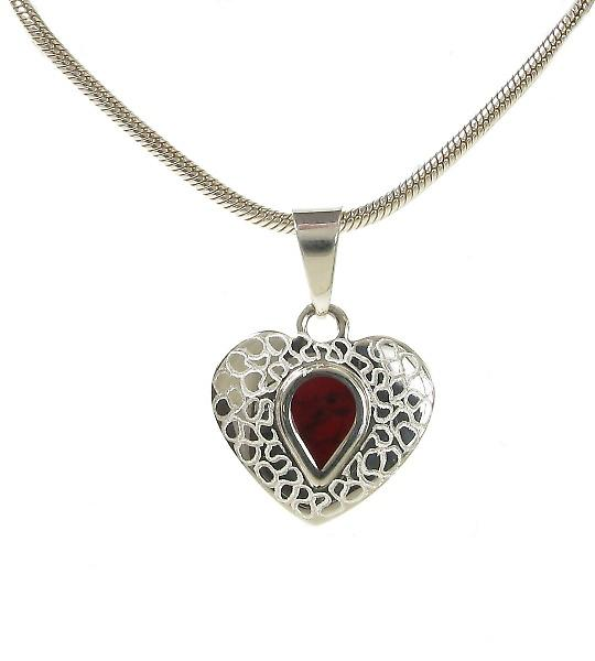Cavendish French Etched Silver and Red Jasper Heart Pendant