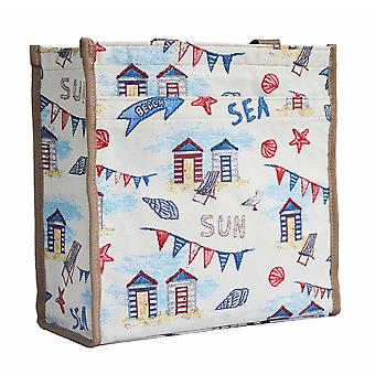 Beach hut folding shopper bag by signare tapestry / shop-bhut