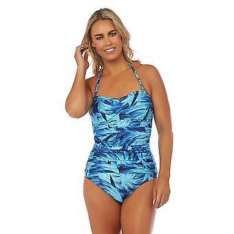 Seaspray SY007786 Women's Narissa Blue Multicolour Floral Costume One Piece Draped Bandeau Swimsuit