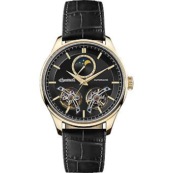 Ingersoll The Chord Automatic Sun Moon Subdial Gold IP Case Leather Strap Mens Watch I07202 44mm