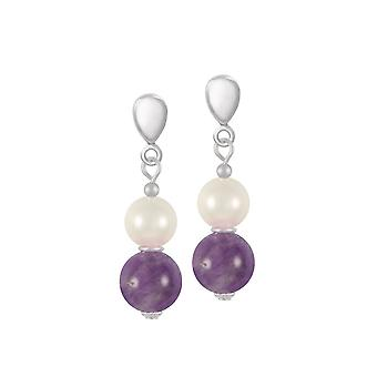 Eternal Collection Duet Amethyst & Shell Pearl Silver Tone Drop Clip On Earrings